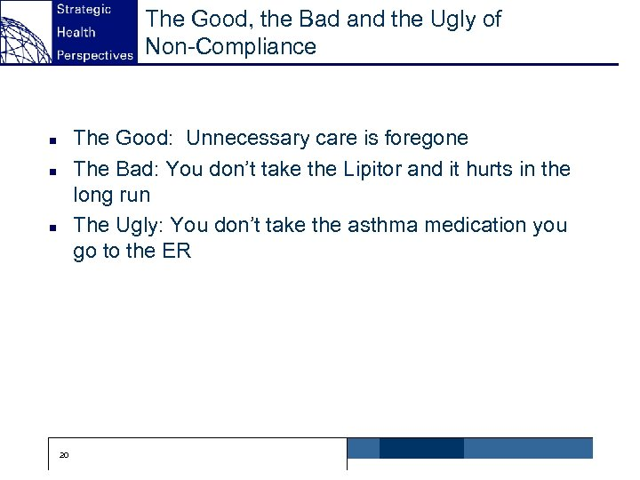 The Good, the Bad and the Ugly of Non-Compliance The Good: Unnecessary care is