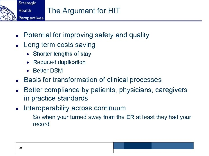 The Argument for HIT Potential for improving safety and quality Long term costs saving