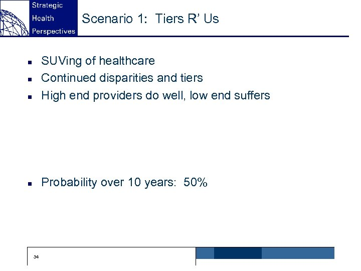 Scenario 1: Tiers R' Us n SUVing of healthcare Continued disparities and tiers High