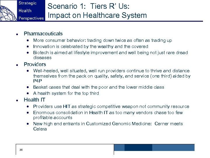 Scenario 1: Tiers R' Us: Impact on Healthcare System Pharmaceuticals n · More consumer