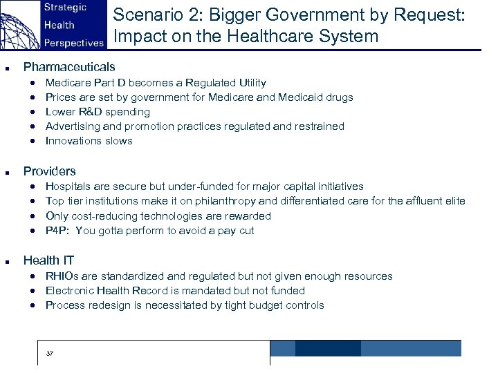 Scenario 2: Bigger Government by Request: Impact on the Healthcare System n Pharmaceuticals ·
