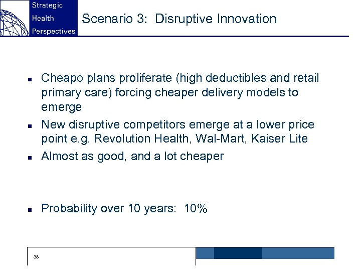 Scenario 3: Disruptive Innovation n Cheapo plans proliferate (high deductibles and retail primary care)