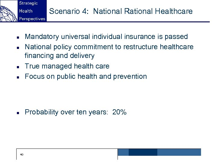 Scenario 4: National Rational Healthcare n Mandatory universal individual insurance is passed National policy