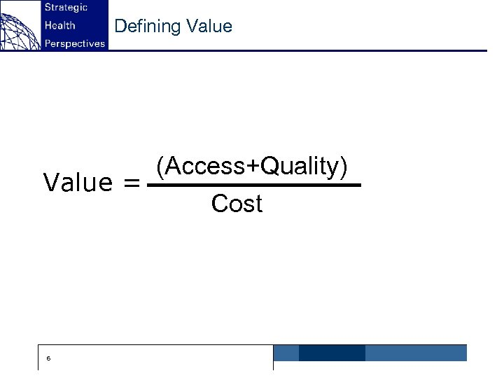 Defining Value (Access+Quality) Value = Cost 6