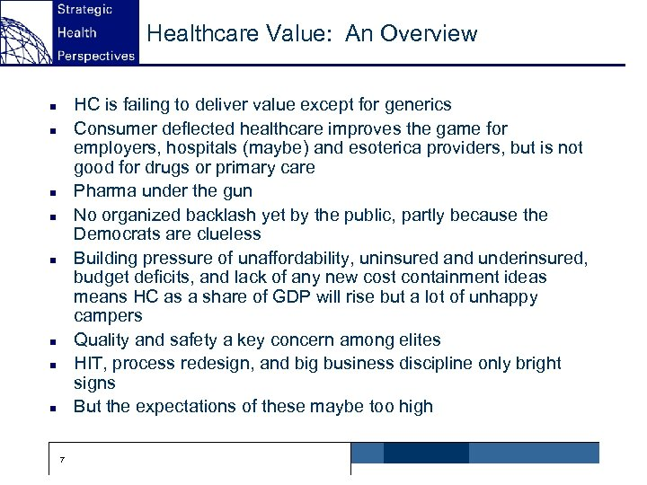 Healthcare Value: An Overview HC is failing to deliver value except for generics Consumer