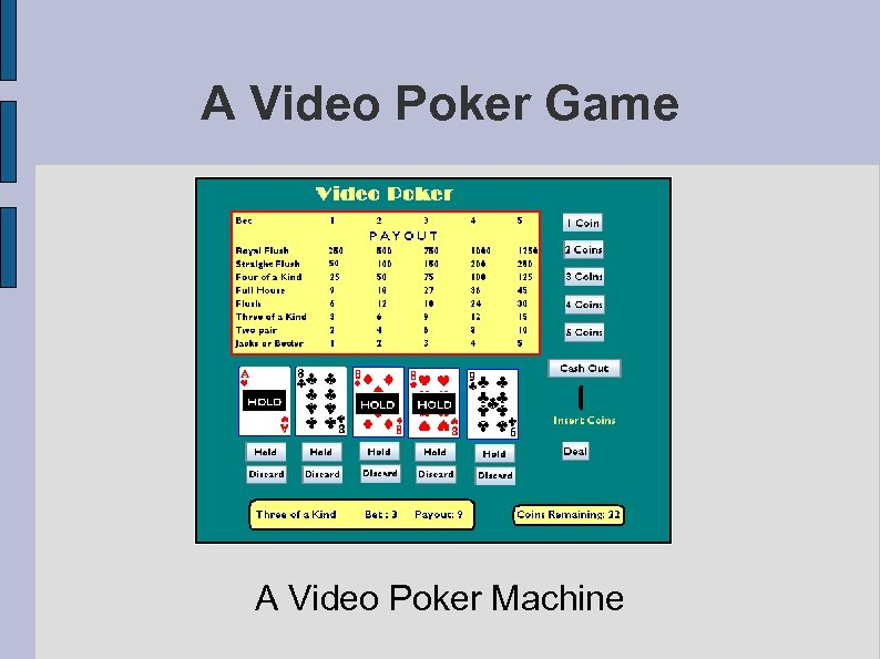 A Video Poker Game A Video Poker Machine