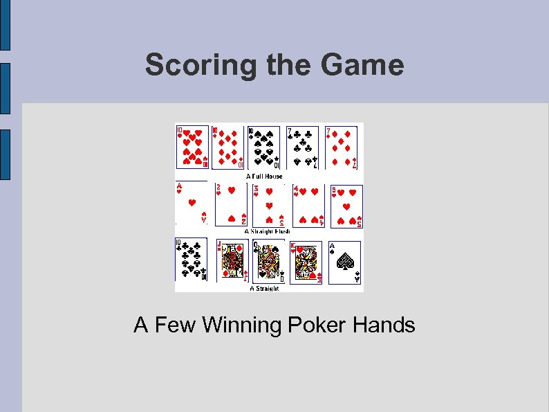 Scoring the Game A Few Winning Poker Hands