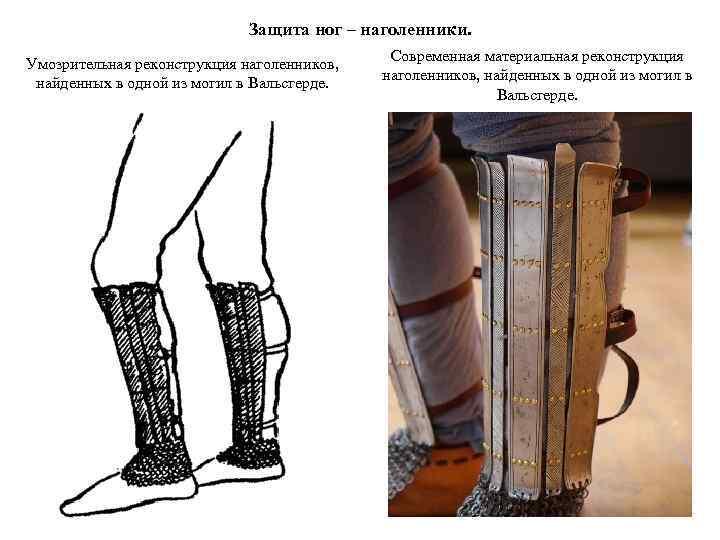 Защита ног – наголенники. Умозрительная реконструкция наголенников, найденных в одной из могил в Вальсгерде.