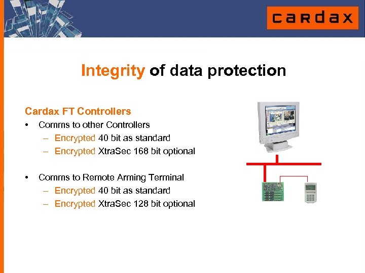 Integrity of data protection Cardax FT Controllers • Comms to other Controllers – Encrypted