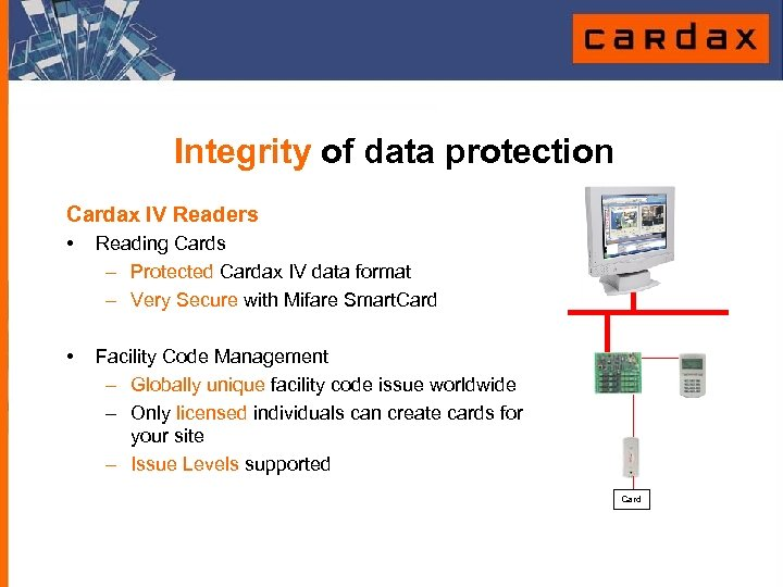 Integrity of data protection Cardax IV Readers • Reading Cards – Protected Cardax IV