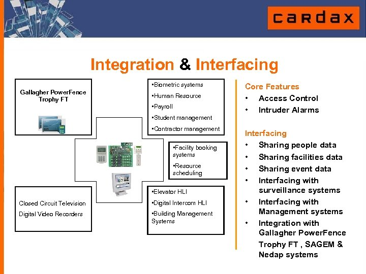 Integration & Interfacing • Biometric systems Gallagher Power. Fence Trophy FT • Human Resource