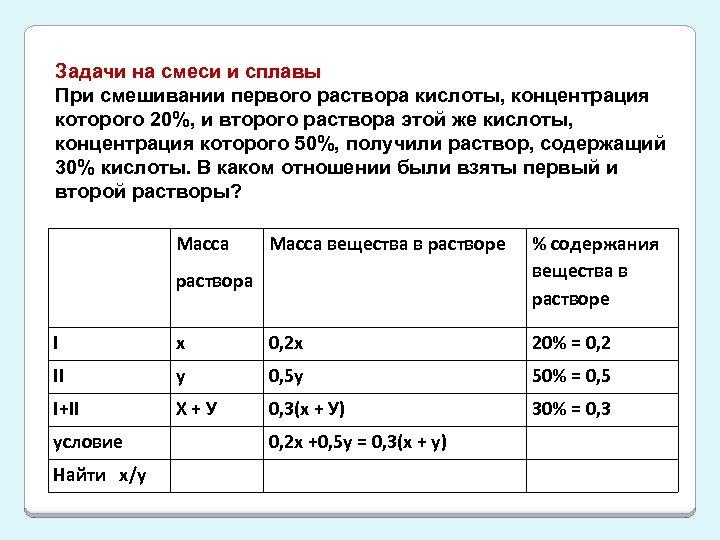 Задачи на смеси и сплавы При смешивании первого раствора кислоты, концентрация которого 20%, и