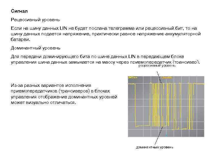 Сигнал Рецессивный уровень Если на шину данных LIN не будет послана телеграмма или рецессивный