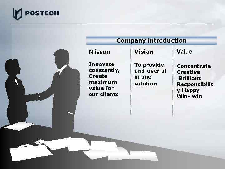 Company introduction Misson Vision Value Innovate constantly, Create maximum value for our clients To