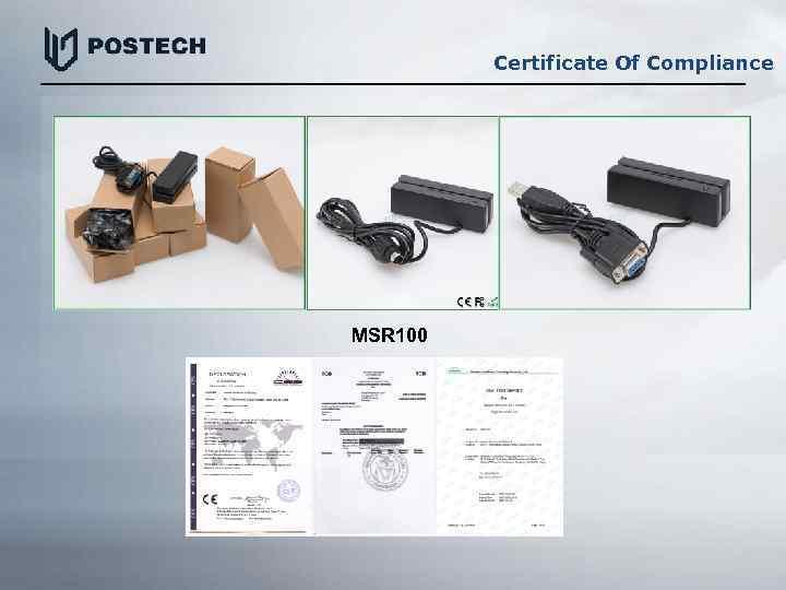 Certificate Of Compliance MSR 100