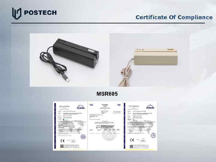 Certificate Of Compliance MSR 605