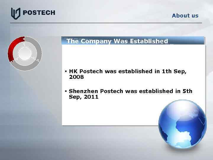 About us The Company Was Established § HK Postech was established in 1 th