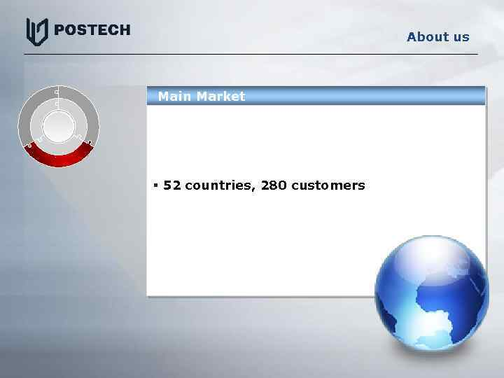 About us Main Market § 52 countries, 280 customers