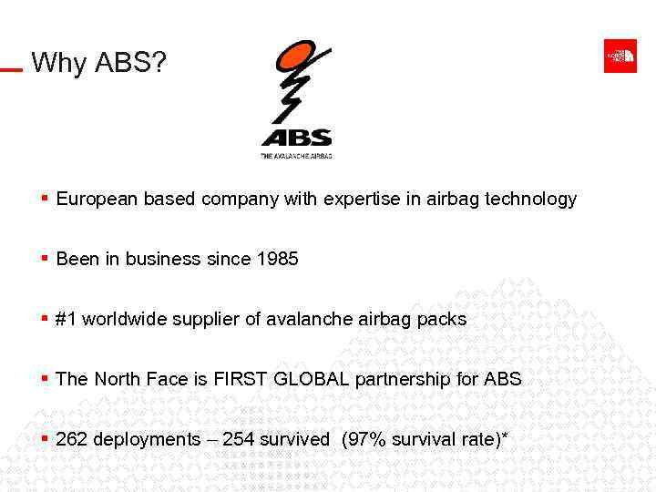 Why ABS? § European based company with expertise in airbag technology § Been in