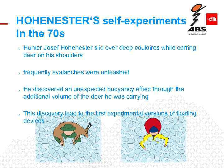HOHENESTER'S self-experiments in the 70 s • • Hunter Josef Hohenester slid over deep