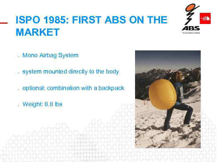ISPO 1985: FIRST ABS ON THE MARKET • Mono Airbag System • system mounted