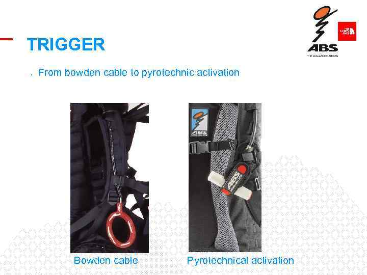 TRIGGER • From bowden cable to pyrotechnic activation Bowden cable Pyrotechnical activation