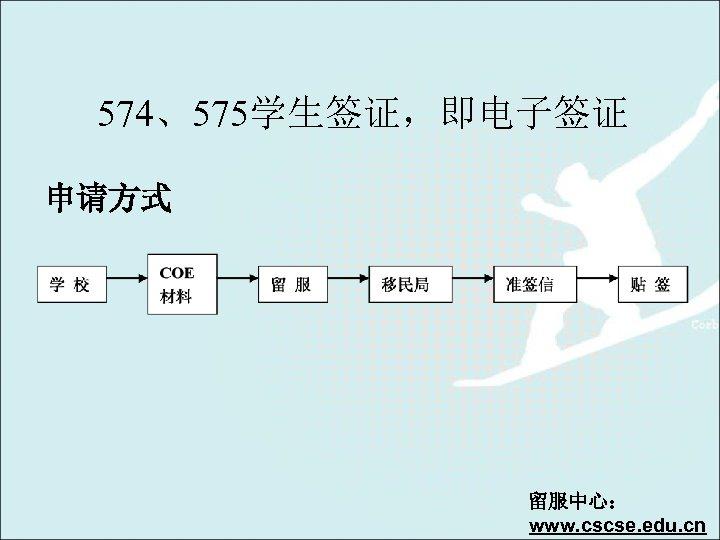 574、575学生签证,即电子签证 申请方式 留服中心: www. cscse. edu. cn