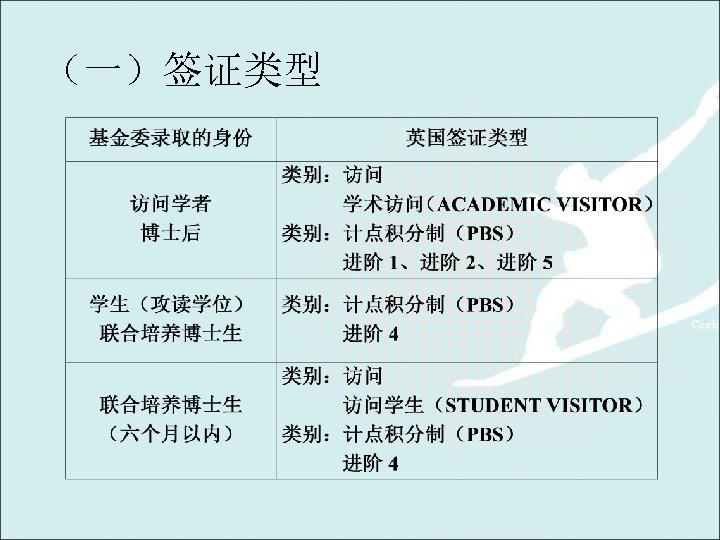 (一)签证类型