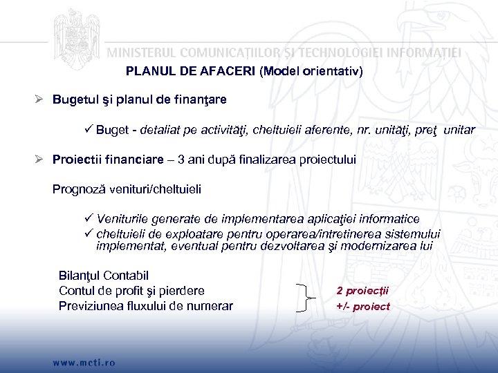 PLANUL DE AFACERI (Model orientativ) Ø Bugetul şi planul de finanţare Buget - detaliat