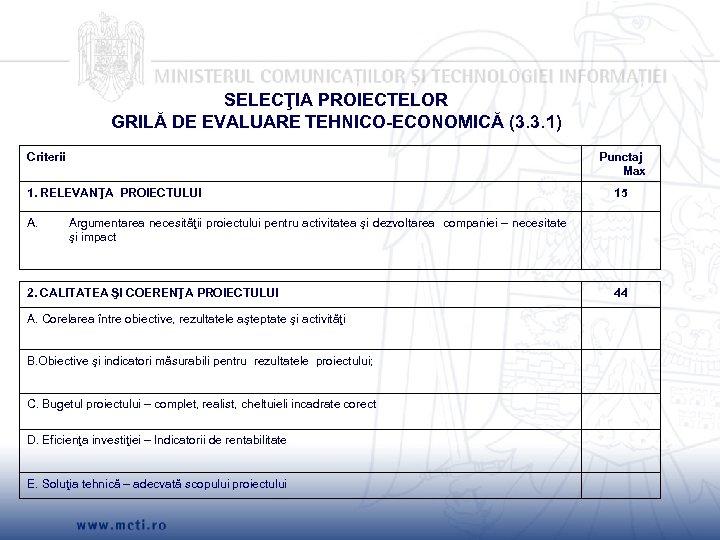 SELECŢIA PROIECTELOR GRILĂ DE EVALUARE TEHNICO-ECONOMICĂ (3. 3. 1) Criterii Punctaj Max 1. RELEVANŢA