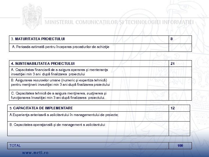 3. MATURITATEA PROIECTULUI 8 A. Perioada estimată pentru începerea procedurilor de achiziţie 4. SUSTENABILITATEA