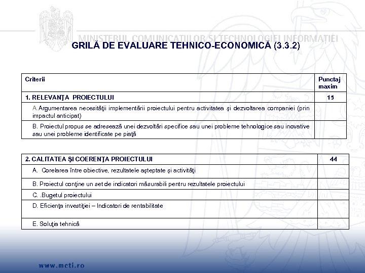 GRILĂ DE EVALUARE TEHNICO-ECONOMICĂ (3. 3. 2) Criterii 1. RELEVANŢA PROIECTULUI Punctaj maxim 15