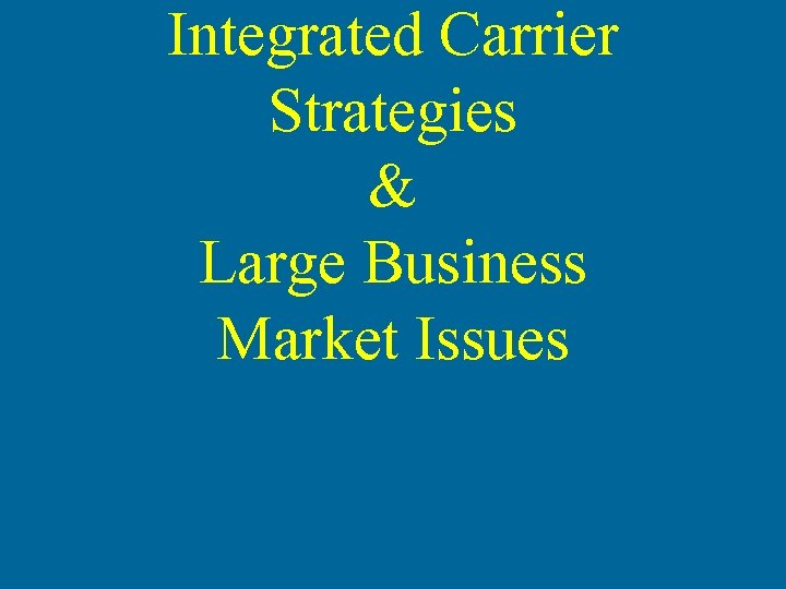 Integrated Carrier Strategies & Large Business Market Issues