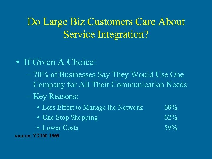 Do Large Biz Customers Care About Service Integration? • If Given A Choice: –