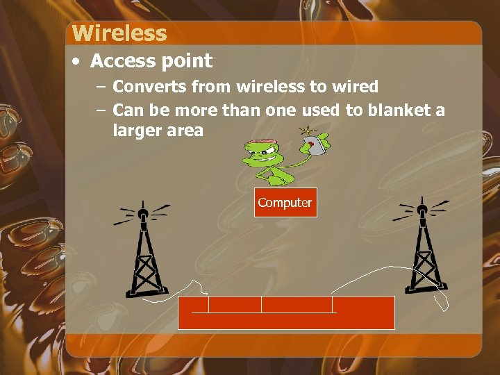 Wireless • Access point – Converts from wireless to wired – Can be more
