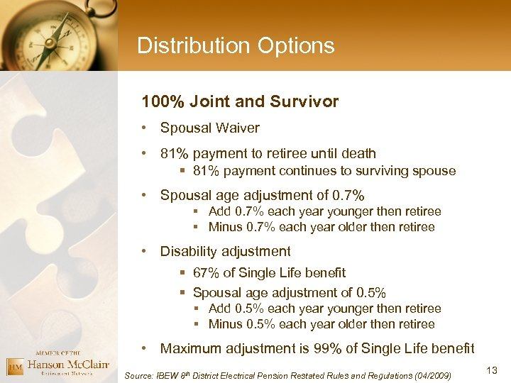 Distribution Options 100% Joint and Survivor • Spousal Waiver • 81% payment to retiree