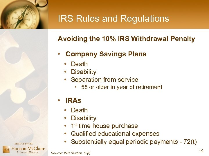 IRS Rules and Regulations Avoiding the 10% IRS Withdrawal Penalty • Company Savings Plans