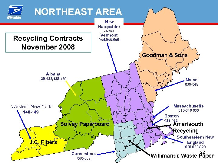 NORTHEAST AREA New Hampshire 030 -038 Recycling Contracts November 2008 Vermont 054, 056 -059