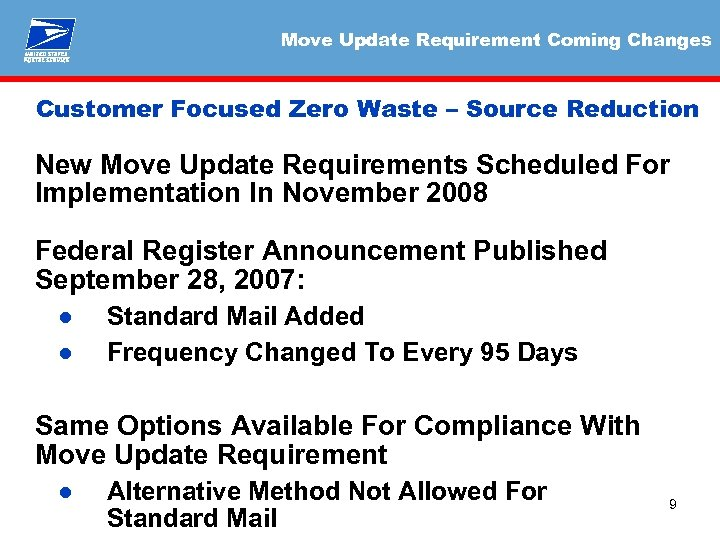Move Update Requirement Coming Changes Customer Focused Zero Waste – Source Reduction New Move