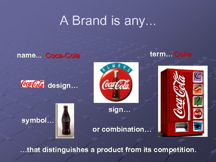 A Brand is any. . . term… Coke name. . . Coca-Cola design… symbol…