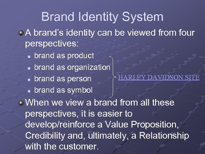 Brand Identity System A brand's identity can be viewed from four perspectives: n n
