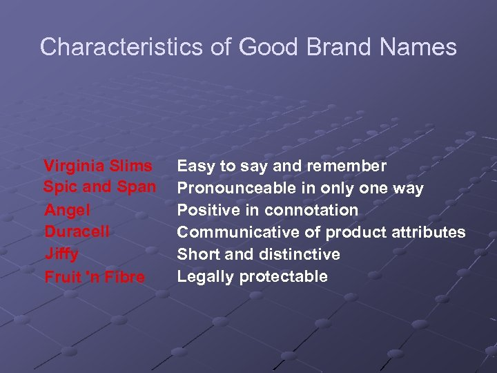 Characteristics of Good Brand Names Virginia Slims Spic and Span Angel Duracell Jiffy Fruit