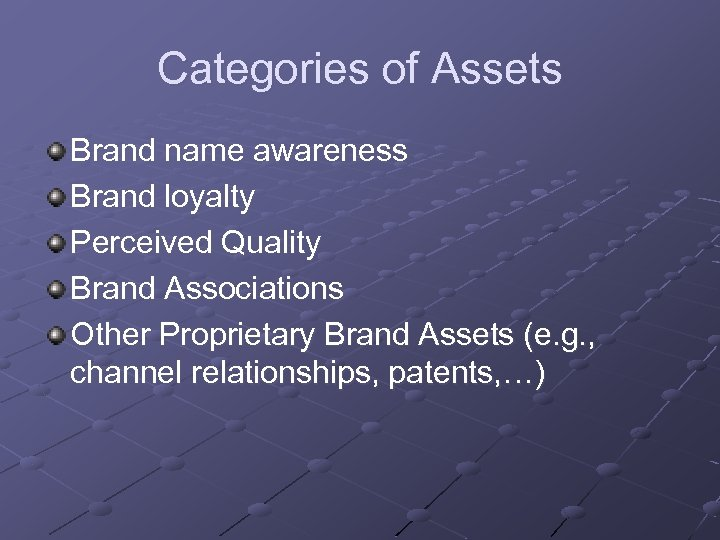 Categories of Assets Brand name awareness Brand loyalty Perceived Quality Brand Associations Other Proprietary