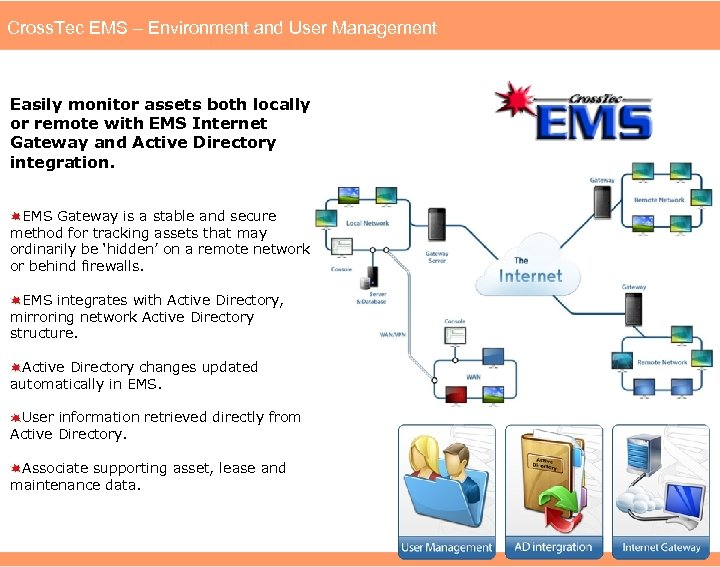 Cross. Tec EMS – Environment and User Management Easily monitor assets both locally or