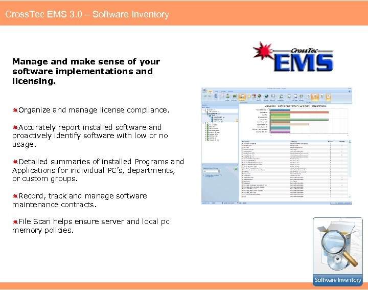 Cross. Tec EMS 3. 0 – Software Inventory Manage and make sense of your