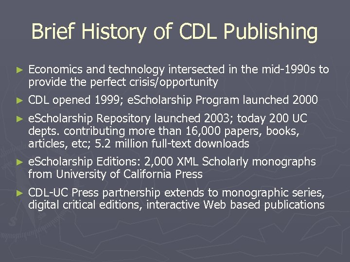 Brief History of CDL Publishing ► Economics and technology intersected in the mid-1990 s