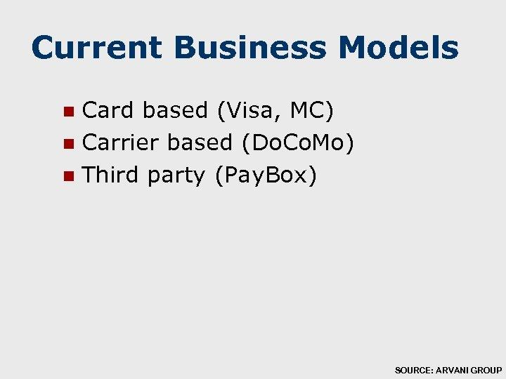 Current Business Models Card based (Visa, MC) n Carrier based (Do. Co. Mo) n