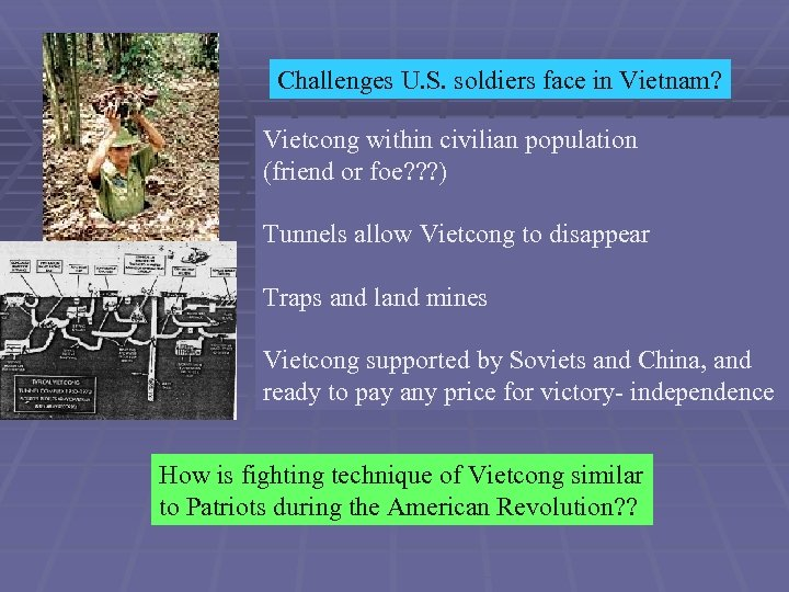 Challenges U. S. soldiers face in Vietnam? Vietcong within civilian population (friend or foe?