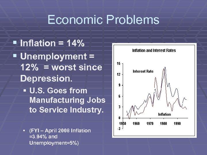 Economic Problems § Inflation = 14% § Unemployment = 12% = worst since Depression.