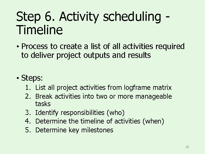 Step 6. Activity scheduling Timeline • Process to create a list of all activities